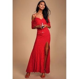 Lulus Caterina Red Lace Off-the-Shoulder Maxi